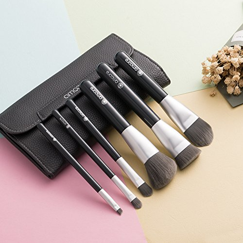amoore 6Pcs Make up Brush Set Makeup Brushes with Cases�Foundation Brush Eyeshadow Brush Travel Set (6 Pcs, Dark Grey)