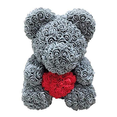 Rose Bär Puppe Plüsch Puppe Teddy Bär aus PE Schaum Dekoration Geschenk für Valentinstag Hochzeit 38cmx28cmx28cm