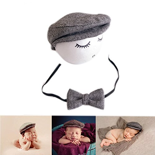 Neugeborene Baby Fotografie Requisiten Boy Girl Crochet Kostüm Outfits Hut Krawatte (Light Grey)