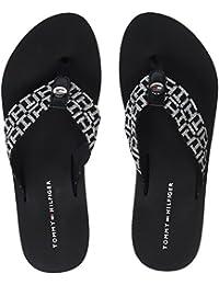 Tommy Hilfiger Damen Metallic Mid Beach Sandal Zehentrenner, Schwarz (Black 990), 38 EU