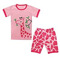 Qtake Fashion 1-12 Years Girls Pajamas Children Clothes Set Deer 100% Cotton Little Kids Pjs Sleepwear Pink