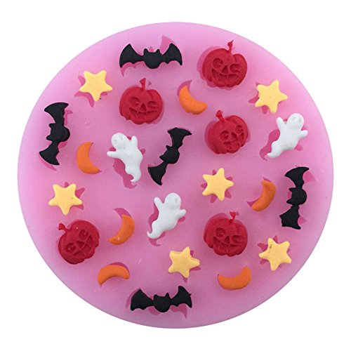 (RUST Weihpe Silikon Backform Halloween Kürbis Schläger Geist Fondant Tortendeko Form BPA Frei Schokoladenform Seifenform Modellierung für Kuchen Dekorieren)