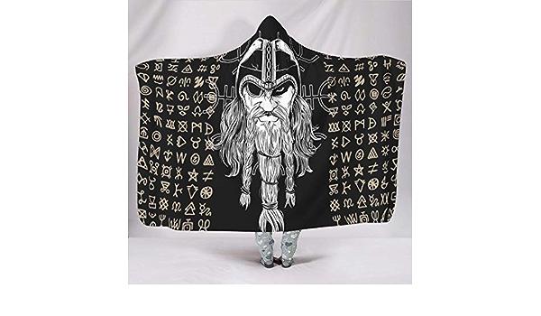 Couverture de Style Viking Nordique Blanc Guerre scandinave Polaire 130x150cm N/œud Celtique Big Blanket Cape Faulenzen /Épices crois/ées Imprim/é Wandlovers Super Doux avec Capuche
