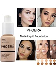 Foundation Liquid,Walaha Foundation Full Coverage New 30ml PHOERA 24HR Matte Oil Control Concealer Liquid Foundation (E) (Nude #102)