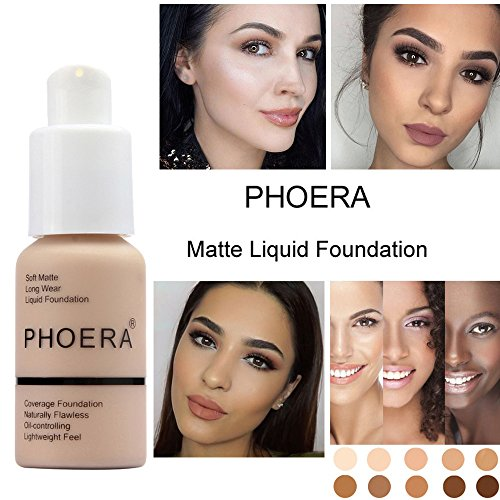 Match Liquid Foundation (Concealer Foundation Essence Braun Abdeckstift, PHOERA Matte Oil Control Makeup Liquid Foundation Cream 24h lang Vertuschen Fehler Im Gesicht kaschiert Augenringe für alle Hauttypen - 30ml)