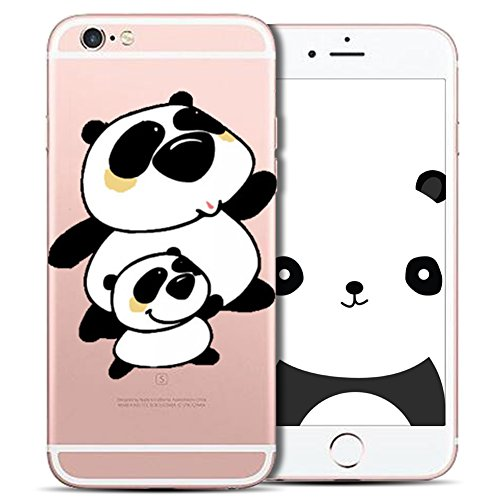 Cover iPhone 6 Plus Spiritsun Case iPhone 6S Plus Custodia Silicone Ultraslim Soft TPU Case Cristallo limpido Trasparente Cover Cartoon Kawaii Souple Flessibile Phone Protezione Case Per iPhone 6S Plu Panda 18