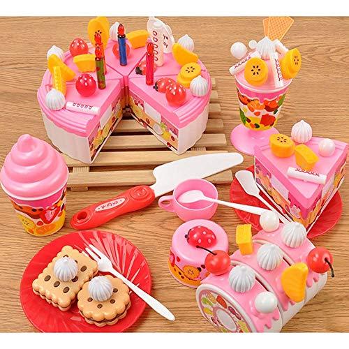 Electz 73 DIY Cutting Birthday Party Kuchen Spielzeug Set Candles Fruit Dessert, Frühe pädagogische Küchenspielzeug zum Kinder, Kleinkinder, Jungen & Mädchen,Pink (Halloween-desserts Zu Machen)