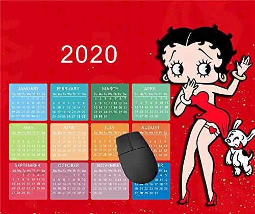 Mauspad/Mauspad, rutschfest, rund, für Computer/Laptop, 20 x 24 cm, Betty Boop (2)-2020 Kalender, 2 Stück