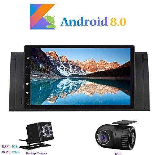 Android 8.0 Autoradio, Hi-azul 9 Pouces 1 Din Car Radio 8-Core 64Bit RAM 4G ROM 32G Car Audio Récepteur de Radio de Voiture Stéréo Voiture avec 1280*600 Écran Tactile et Lecteur DVD pour BMW X5-E53/ BMW 5-E39 Soutien WiFi, Bluetooth, Mirror-Link, Contrôle du Volant, RDS (avec Caméra de Recul et DVR)