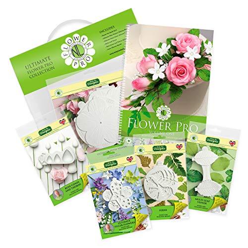 The Flower Pro Roses and Filler Flowers Collection Volume One Gift Pack Kit; 5 Silikonformen, Tutorial Buch und Tragetasche; Kuchen-Dekoration, Basteln, Cupcakes, Zuckerguss, Süßigkeiten und Ton