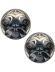 LilMents - Pendientes unisex, acero inoxidable, diseño con cara de perro carlino, cierre a presión