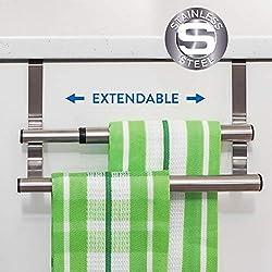 Tatkraft Double - Porte Serviette en Acier Inoxydable pour Portes et Placards - Porte-Torchons Double avec Installation Facile - sans Perçage- Largeur Extensible - Dimensions: 25-40 x 8 x 9 cm