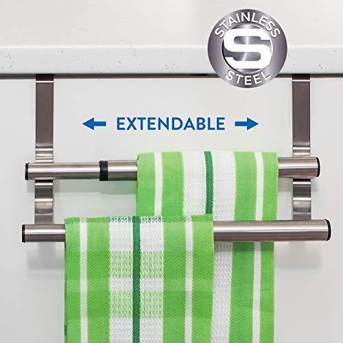 Tatkraft Double Toallero Extensible Doble sobre Puerta de Armario de Acero Inoxidable para Cocina y Baño 25-40 X 14 X 12 cm