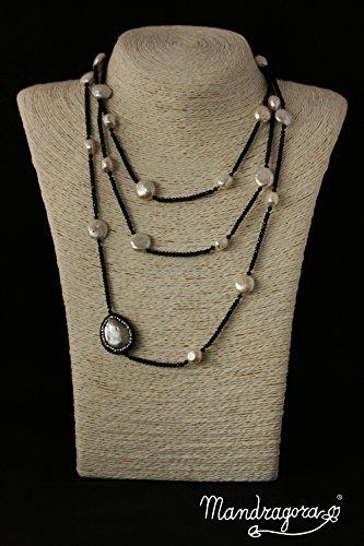 Collana lunga GIRA GIRA con perle ed un BOTTONE GIOIELLO