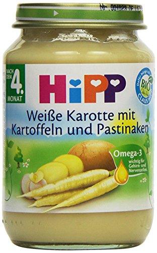 Hipp Weiße Karotte mit Kartoffeln und Pastinaken, 6er Pack (6 x 190g)