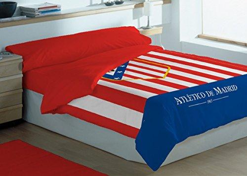 Atlético de Madrid Edredón Rayas Escudo Rojo / Blanco Cama 90