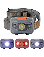 XCSOURCE Super Brillant 300LM Mini Phares 3x CREE R3 + 2 LED Rouge Phare Lampe Frontale Sport Lampe Torche Gris LD639