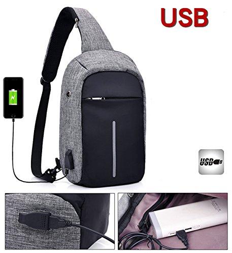 Super moderno unisex caricatore USB port tracolla in nylon tracolla antifurto intelligente borsa da viaggio con auricolare, Uomo, DarkBlue, S DarkBlue