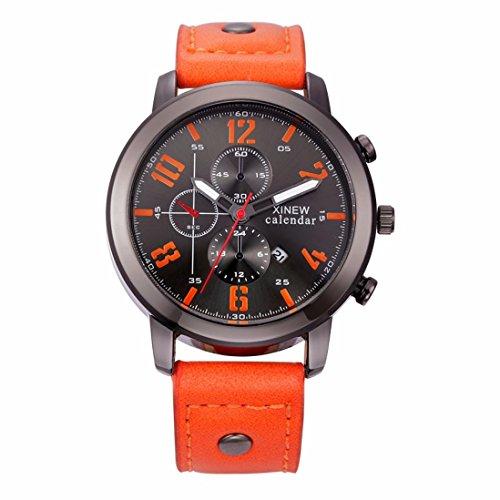 Relojes Hombre,Xinan Cuero Deporte del Acero Inoxidable Analógico de Pulsera de Cuarzo (Naranja)