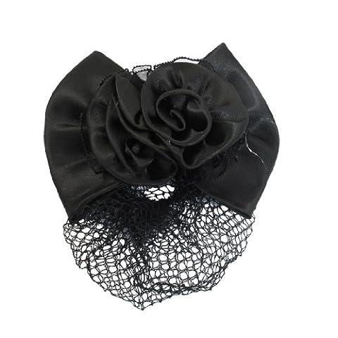 Sourcingmap Woman Double Flower Bowknot Snood Net Bun Cover Hair Clip, Black