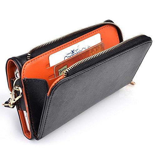 Kroo d'embrayage portefeuille avec dragonne et sangle bandoulière pour Maxwest Orbit 6200 Black and Orange Black and Orange