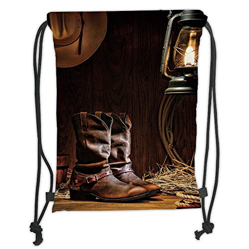 Fashion Printed Drawstring Backpacks Bags,Western,Authentic Western Riding Tools Shoes in Vintage Ranch Barn with Nostalgic Lantern Print Decorative,Brown Soft Satin,5 Liter Capacity,Adjustable St -