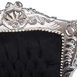 Kids Kinderthron Barock Bezug schwarz der Rahmen silber Sessel Kinderzimmer - 5