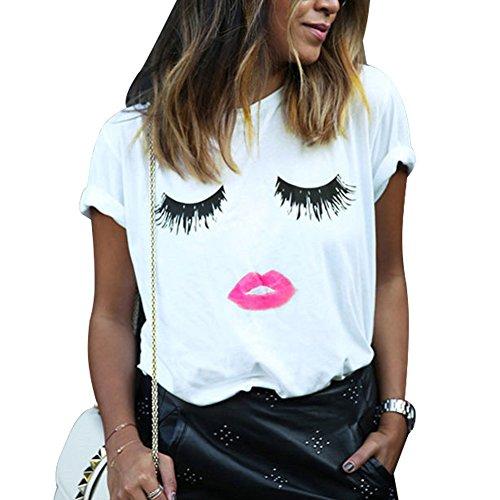 Mangotree Frauen Lip Wimpern Printed Kurzarm T-Shirt Mode Damen Mädchen Weiße Kurze Hülse Tops (T-shirt Mädchen Lange)