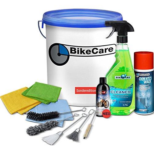 BikeCare Motorrad Pflege Set, Pflege-Eimer-Set, 12-teilig, Cleaner Gel Motorradreiniger Sprühflasche, Bürsten-Set, Cleanwax, Mikrofaser-Tücher-Set, Autosol Showroom Polish, 10 Liter Eimer