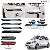 Allure Auto® Rubber Car Bumper Protector Guard with Double Chrome Strip (Black) 4Pcs for Mahindra e2o Plus
