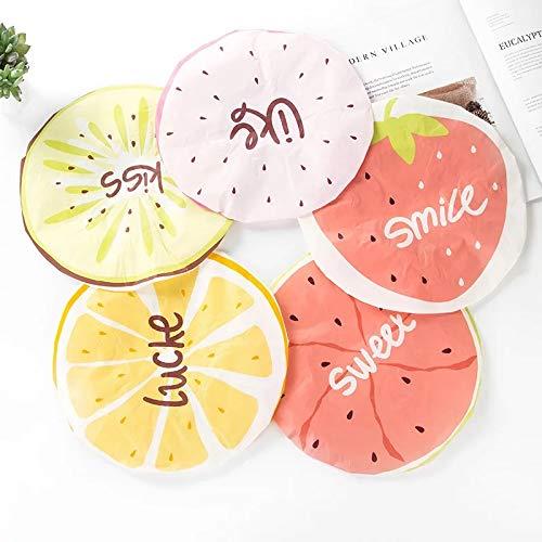 5 paquetes moda, patrón frutas, gorro ducha reutilizable