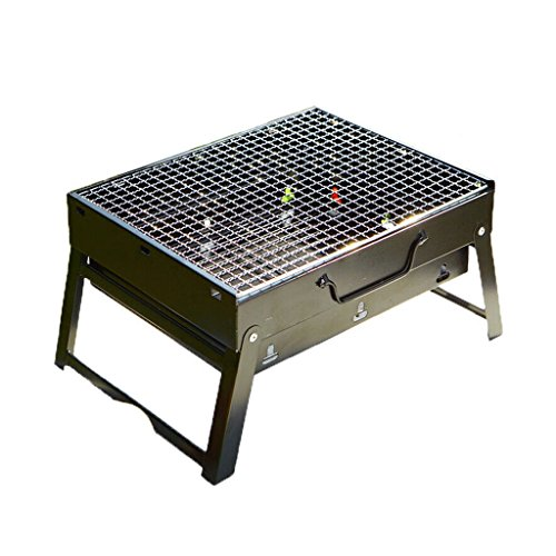 JCOCO Grillgeräte Faltbare Tragbare Grill Thick Edelstahl Grill Set Outdoor Holzkohlegrill (43 * 29 * 22 cm) (Grill + 9 Zubehör) | Garten > Grill und Zubehör > Grillgeräte | BBQ Holzkohlegrills