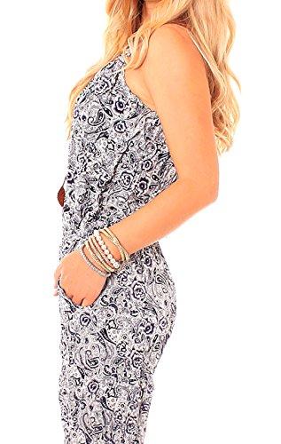 Easy Young Fashion Damen Jumpsuit lang Print Baumwoll Sommer Overall mit Spaghetti Trägern Retro Design gemustert bunt Anzug One Size Gr S / M = 36 / 38 Blau/Weiß