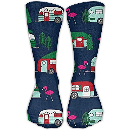 zengjiansm Hohe Socken Christmas Camper Flamingo Car Tree Fashion Warm Winter Socks Cotton Crew Socks One Size for Women and Men(60CM)