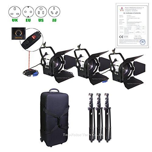 top-fotos Pro Film 3x 50W LED Studio Fresnel-Scheinwerfer Kit CE Zertifizierung für Came Video (Dimmer Arri)