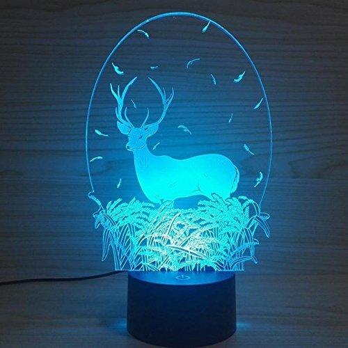 Preisvergleich Produktbild 3D Hirsch Optische Illusions-Lampen,  Tolle 7 Farbwechsel Acryl berühren Tabelle Schreibtisch-Nachtlicht mit USB-Kabel für Kinder Schlafzimmer Geburtstagsgeschenke Geschenk