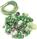 Perlen Set mit Schnur grün-weiss 6-10 mm