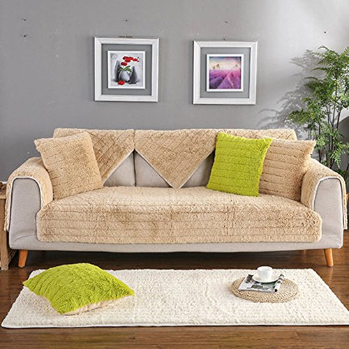 J&DSU Sofabezug Samt Sectional Sofa Rutschfeste Multi-Size Couchbezug 1 stück,Maschine Waschbar-A 110x210cm(43x83inch) (Seide Samt Decke)