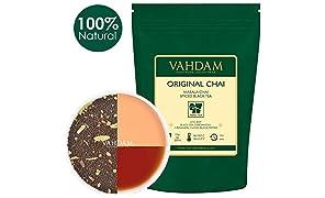 VAHDAM India's Original Masala Chai Tea(225 tasses). Un délicieux mélange de thé noir CTC Assam aux épices indiennes, en provenance de l'Inde, 454g
