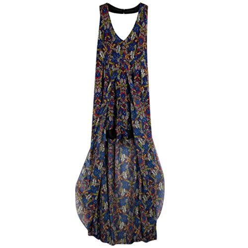 QIYUN.Z Femmes Col En V Halter Cou Backless Robe De Plage Bohème Imprimé Long Sundress 2