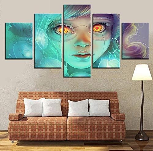 Mädchen Gesicht Ein Stück (Leinwand HD Gedruckt Dekoration 5 Stücke Bilder Mädchen Gesicht Moderne Malerei Modulare Wandkunst Poster Für Wohnzimmer arbeit)