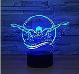 1 confezione, Novità Nuoto notturno 3D Usb Colorato Visual Led Lampada da tavolo Touch Button Sleep Light Regali Camera da letto