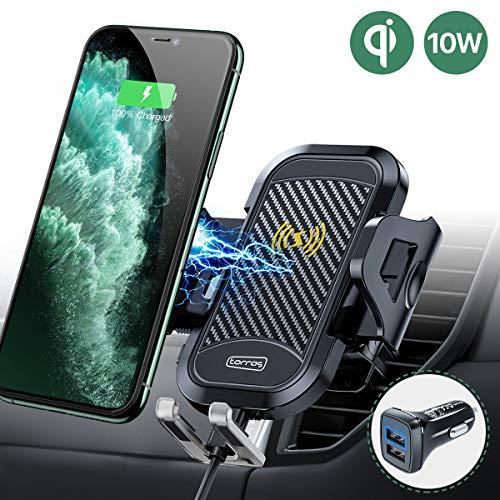 TORRAS Handyhalter fürs Auto Wireless Charger 2019 Upgrade Kit mit Auto Ladegerät 2 Lüftungsclips Qi 7,5W/10W Fast Charging Auto Handyhalterung für iPhone 11 XS XR Samsung Galaxy Note10 Note10+ Usw