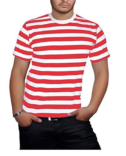 TrendyFashion - Camiseta - Rayas - Cuello redondo - Manga corta - para hombre Red/White Stripe T-Shirt small