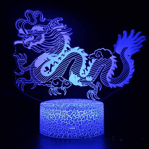 wangZJ 12 Tierkreistiere 3d Lampe Led Nachtlicht/Schreibtischlampe Kinder/Weihnachtsgeschenke-Dragon-Remote 7 Farbe