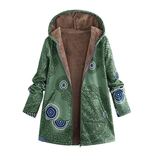 FNKDOR Manteau à Capuche Femmes Grande Taille Hiver Chaud Veste en Coton Lâche Poches Rétro Fleurs Impression Plus épais Hasp Outwear Pas Cher (D-Vert,2XL)