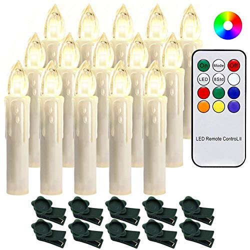 Hengda 30X Weinachten LED Kerzen Lichterkette Kerzen Weihnachtskerzen Weihnachtsbaum Kerzen mit Fernbedienung Kabellos
