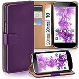 moex LG Google Nexus 4 | Hülle Lila mit Karten-Fach 360° Book Klapp-Hülle Handytasche Kunst-Leder Handyhülle für LG Google Nexus 4 Case Flip Cover Schutzhülle Tasche