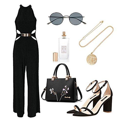 Yoome Stickerei Handtaschen Top Handle Tote Elegant Taschen Für Frauen Casual New Chic Taschen Crossbody - Schwarz Schwarz
