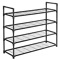 SONGMICS 4-Tier Shoe Rack, Metal Storage Shelves Hold up to 20 Pairs of Shoes, for Living Room, Entryway, Hallway and Cloakroom, 91.5 x 28.5 x 76 cm